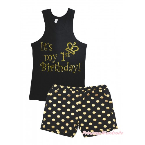 Black Tank Top It's My 1st Birthday Painting & Black Gold Dots Girls Pantie Set MG2393