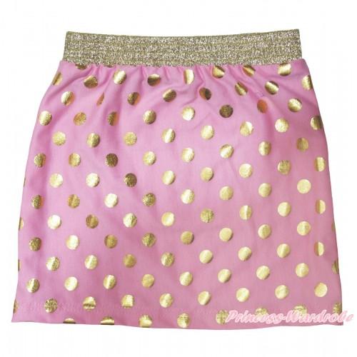 Light Pink Gold Dots Girls Cotton Skirt P257