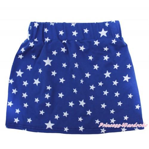 Royal Blue White Star Girls Cotton Skirt P262
