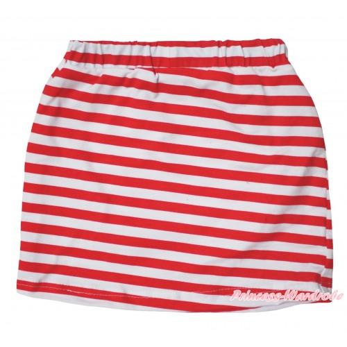 Red White Striped Girls Cotton Skirt P263