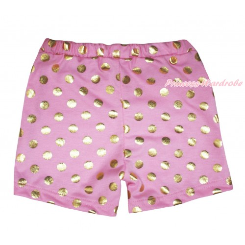 Light Pink Gold Dots Cotton Short Panties PS025