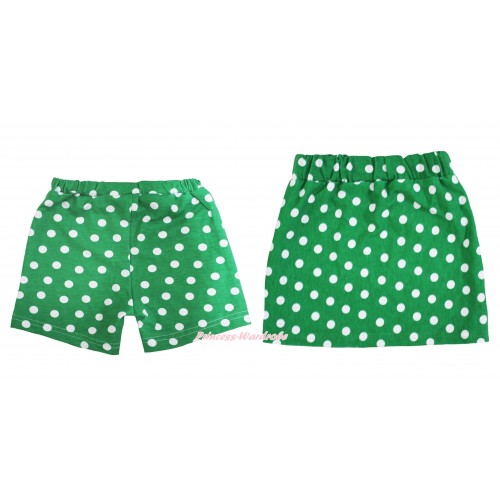 Kelly Green White Dots Cotton Short Panties & Skirt 2 Piece Set PS029