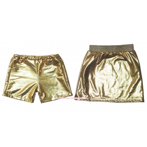 Gold Cotton Short Panties & Skirt 2 Piece Set PS034