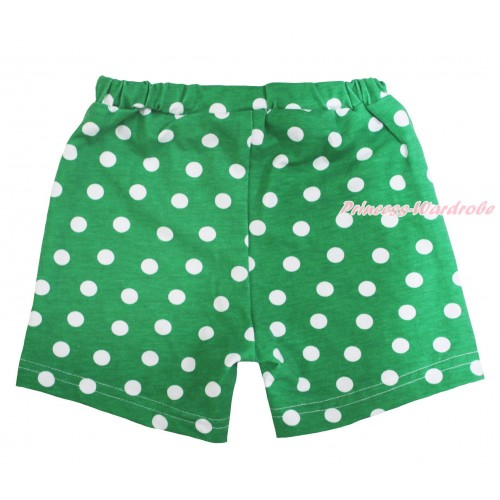 Kelly Green White Dots Cotton Short Panties PS039