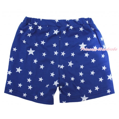 Royal Blue White Star Cotton Short Panties PS042