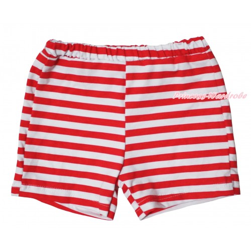 Red White Striped Cotton Short Panties PS043
