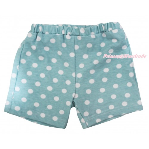 Light Blue White Dots Cotton Short Panties PS044