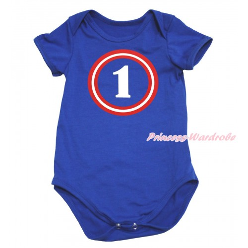 Royal Blue Baby Jumpsuit & Captain America One Print TH740