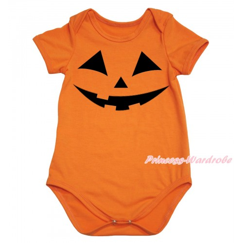 Halloween Orange Baby Jumpsuit & Pumpkin Face Print TH741