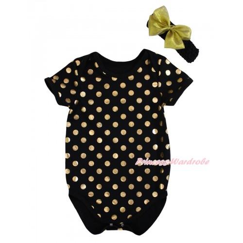 Black Gold Dots Baby Jumpsuit & Headband TH742
