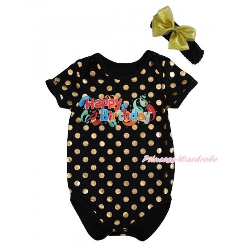 Black Gold Dots Baby Jumpsuit & Happy Birthday Print & Headband TH743