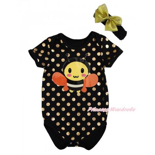 Black Gold Dots Baby Jumpsuit & Bumble Bee Print & Headband TH744