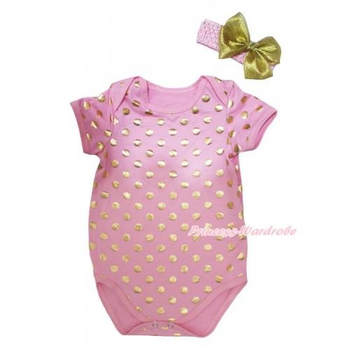 Light Pink Gold Dots Baby Jumpsuit & Headband TH747
