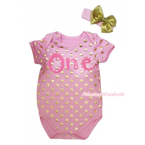Light Pink Gold Dots Baby Jumpsuit & One Painting & Headband TH749