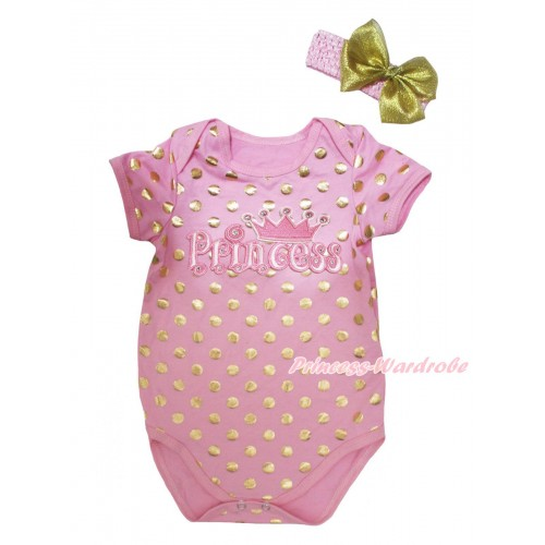 Light Pink Gold Dots Baby Jumpsuit & Princess Print & Headband TH751