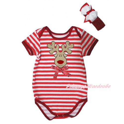 Christmas Red White Stripe Baby Jumpsuit & Christmas Reindeer & Minnie Dots Bow Print & Headband TH754