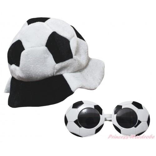Black White Football Costume Party Warm Hat & Sun Glasses Accessory Costume Set C448