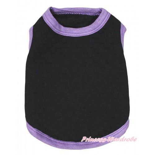 Plain Style Light Purple Piping Black Sleeveless Pet Shirt Top DC321