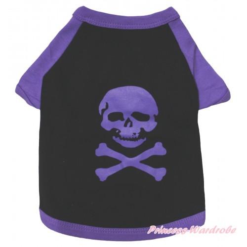 Halloween Black Purple Skeleton T-Shirt Pet Top DC323