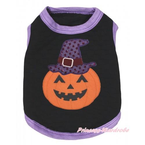 Halloween Light Purple Piping Black Sleeveless Pet Shirt Top& Sparkle Hat Pumpkin Print DC324