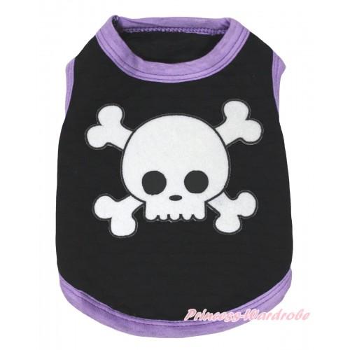 Halloween Light Purple Piping Black Sleeveless Pet Shirt Top & White Skull Print DC325