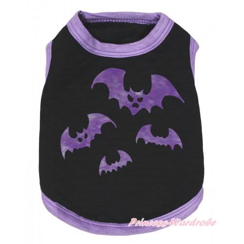 Halloween Light Purple Piping Black Sleeveless Pet Shirt Top & Bat Painting DC327
