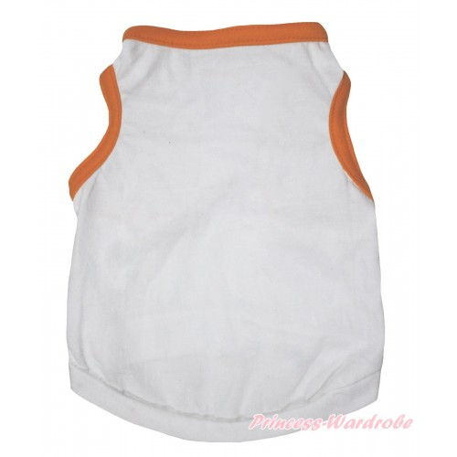 Plain Style Orange Piping White Sleeveless Pet Shirt Top DC329