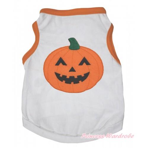 Halloween Orange Piping White Sleeveless Pet Shirt Top & Pumpkin Print DC331