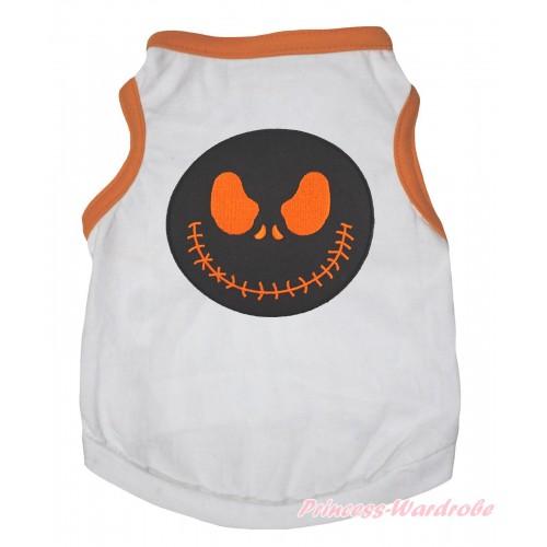 Halloween Orange Piping White Sleeveless Pet Shirt Top & Nightmare Before Christmas Jack Print DC332