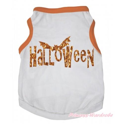 Halloween Orange Piping White Sleeveless Pet Shirt Top & Halloween Painting DC334