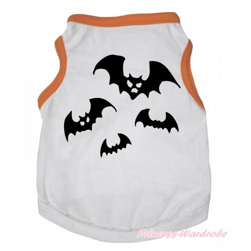 Halloween Orange Piping White Sleeveless Pet Shirt Top & Bat Painting DC335