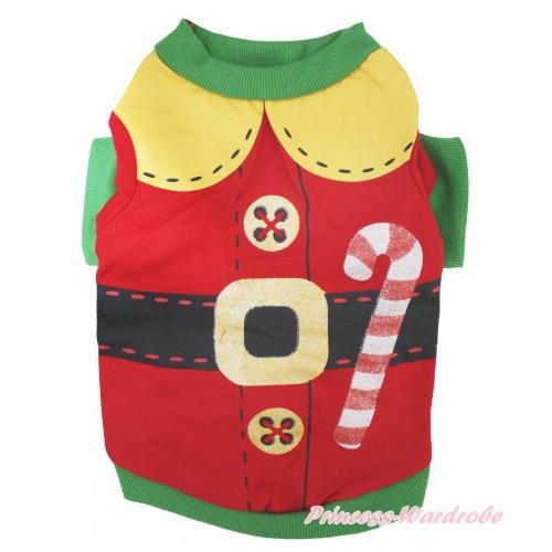 Christmas Kelly Green Piping Red Santa Claus T-Shirt Pet Top DC339