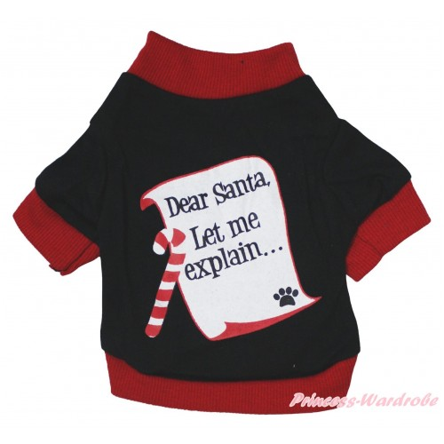 Christmas Red Piping Black T-Shirt Pet Top & Dear Santa Print DC340