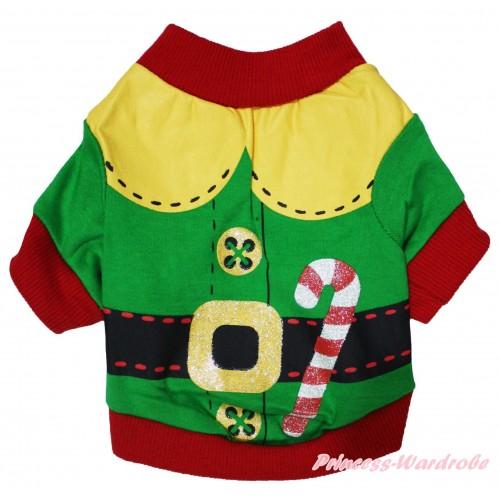 Christmas Red Piping Green Santa Claus T-Shirt Pet Top DC341