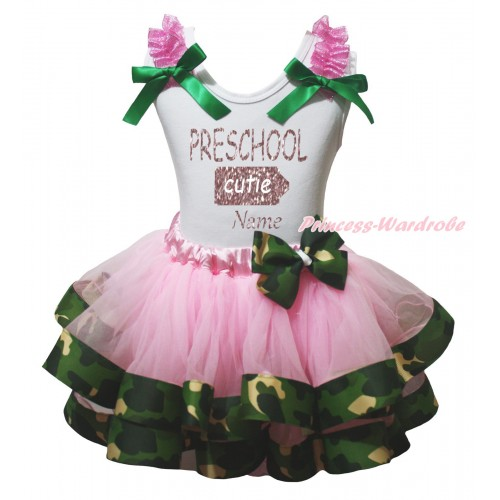 White Pettitop Hot Pink Ruffles Kelly Green Bow & Sparkle PRESCHOOL Cutie Name Painting & Light Pink Camouflage Trimmed Pettiskirt MG2357
