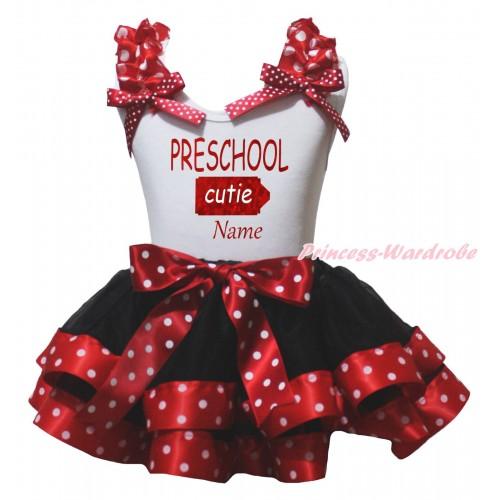 White Pettitop Minnie Dots Ruffles Bow & Sparkle PRESCHOOL Cutie Name Painting & Black Minnie Dots Trimmed Pettiskirt MG2358
