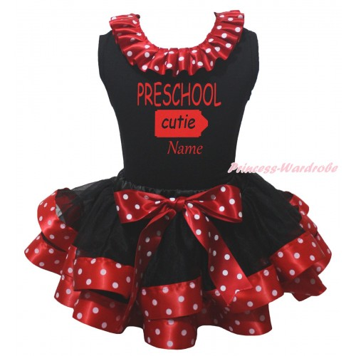 Black Pettitop Minnie Dots Lacing & PRESCHOOL Cutie Name Painting & Black Minnie Dots Trimmed Pettiskirt MG2359