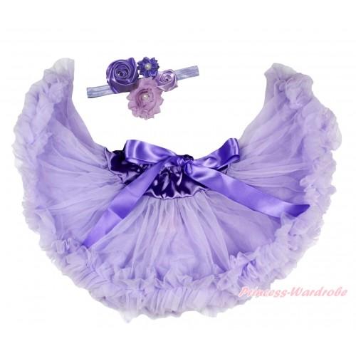 Lavender Newborn Pettiskirt & Light Purple Headband & Bunch Of Light Dark Purple Vintage Garden Pearl Rosettes Flower N304