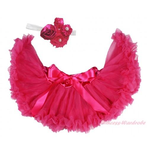 Hot Pink Newborn Pettiskirt & White Headband & Bunch Of Hot Pink Vintage Garden Pearl Rosettes Flower N305