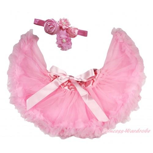 Light Pink Newborn Pettiskirt & Dusty Pink Headband & Bunch Of Dusty Pink Vintage Garden Pearl Rosettes Flower N306