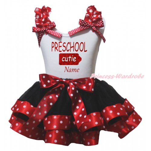 White Baby Pettitop Minnie Dots Ruffles Bow & Sparkle PRESCHOOL Cutie Name Painting & Black Minnie Dots Trimmed Baby Pettiskirt NG2185