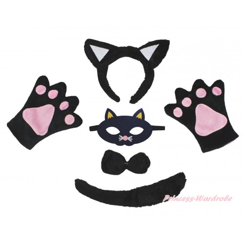 Black Cat 4 Piece Set in Headband, Tie, Tail , Paw & Face Eyes Mask PC172