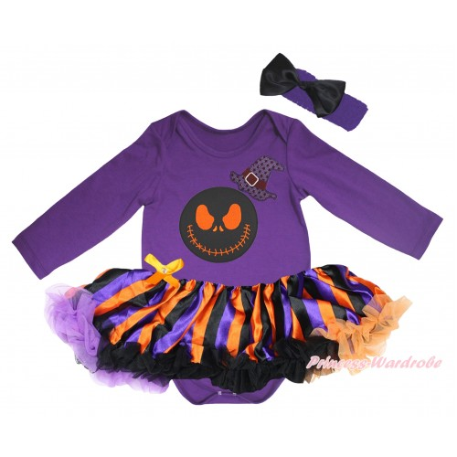 Halloween Dark Purple Long Sleeve Baby Bodysuit Jumpsuit & Sparkle Hat Nightmare Before Christmas Jack Print & Dark Purple Orange Black Striped Pettiskirt & Dark Headband Black Satin Bow JS5787