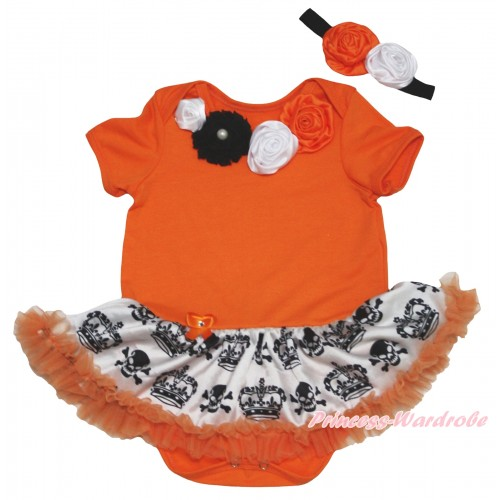 Halloween Orange Baby Bodysuit Crown Skeleton Pettiskirt & Black White Orange Vintage Garden Rosettes Lacing JS5826