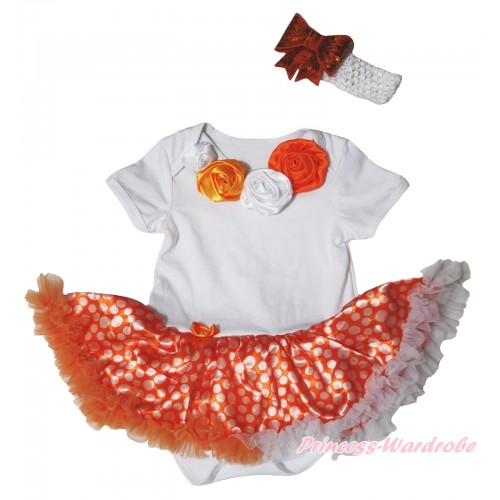 White Baby Bodysuit Orange White Dots Pettiskirt & White Orange Vintage Garden Rosettes Lacing JS5833