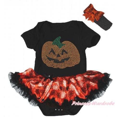 Halloween Black Baby Bodysuit Orange Black Spider Web Pettiskirt & Sparkle Rhinestone Pumpkin Print JS5839