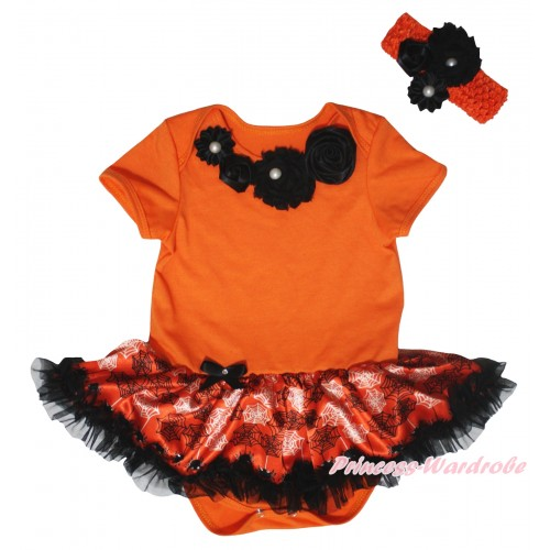 Halloween Orange Baby Bodysuit Orange Black Spider Web Pettiskirt & Black Vintage Garden Rosettes Lacing JS5841
