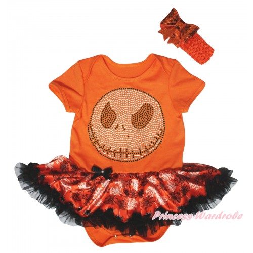 Halloween Orange Baby Bodysuit Orange Black Spider Web Pettiskirt & Rhinestone Jack Print JS5847