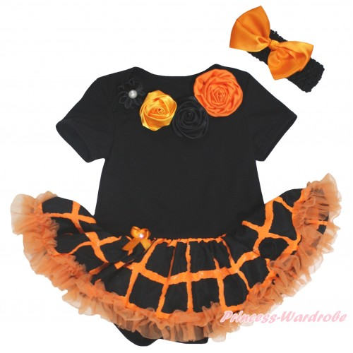 Halloween Black Baby Bodysuit Orange Black Checked Pettiskirt & Orange Black Vintage Garden Rosettes Lacing JS5853