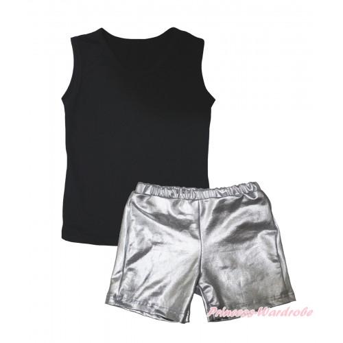 Black Tank Top & Silver Grey Girls Pantie Set MG2459